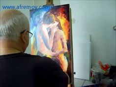 Artist Leonid Afremov painting a new painting by Palette Knife and Oil - YouTube