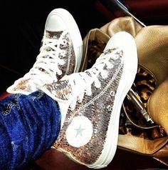 Silver glitter converse