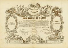 Minas Glorias de Madrid, Sociedad Minera Sta. Elvira, Madrid, 15 July 1852, 1/4 Accion, #35/1, 23 x 33 cm, golden, beige, vertical fold, superb design, gold print.