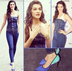 Beautiful Kriti Sanon Bollywood Actress, Daily Fashion, Strapless Dress, Photoshoot, Street Style, Actresses, Photo And Video, Denim, Casual