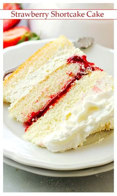 Strawberry Shortcake Cake Layers of moist, buttery cake filled with strawberry pie filling and whipped cream frosting. Amazing Cake for you Strawberry Recipes, Strawberry Pie, Cake Recipes, Dessert Recipes, Salty Cake, Savoury Cake, Strawberry Shortcake, Let Them Eat Cake, High Tea