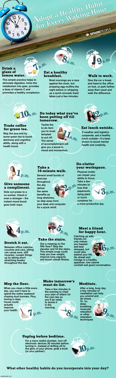 Okay, so you can't be perfect every minute, but you CAN find ways to benefit your health at least once an hour. Here are some smart habits to incorporate throughout your day.
