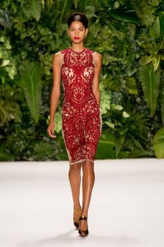 Naeem Khan Spring 2014 RTW - red & nude lace dress