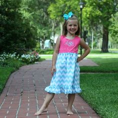 6/6/2013  Pink Knit and Aqua Chevron Lily Dress