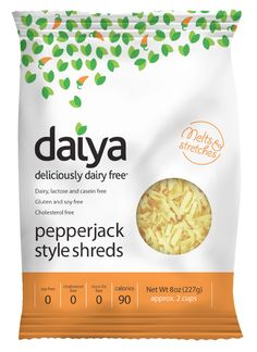 """I had so totally given up on the cheese idea for awhile that I had even stopped slowing down in the dairy aisle - why torture myself?! Then, one miraculous day, a client introduced me to Daiya. It doesn't contain gluten, soy, or casein (a milk protein commonly used in other alternative cheeses to help them """"melt""""), AND the texture was better than the soy- and nut-based products I had tried previously. My vote: Pepperjack for President, Mozzarella for Vice President."""