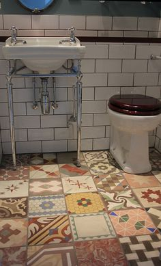 Beautiful Hydraulic Tiles in Bathroom at Brighton Hotel   Reclaimed Tile Company