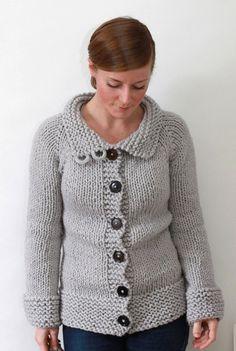 8dfd343add KNITTING PATTERN    Twiggy Cardigan    top-down super bulky sweater -- PDF