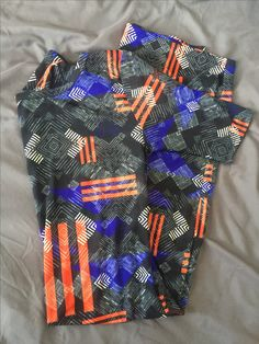 XS Julia- black with orange-blue-white tribal/geometric print (Stephanie)