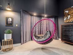 Pink gloss hanging bubble chair with automotive leather upholstery Bubble Chair, Modern Interior, Upholstery, Bubbles, Home Appliances, Pink, Leather, House Appliances, Kitchen Appliances