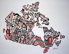 Our Home and Native Land - A Canadian First Nations Style Art Map of Canada - inch print Done by a friend- Jen Adomeit Native Canadian, Canadian History, Canadian Artists, Canadian Things, American History, Canadian Symbols, Canadian Culture, Native American Artists, American Symbols