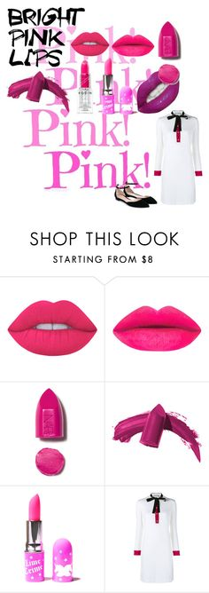 """""""PINK IT"""" by hajus09 ❤ liked on Polyvore featuring beauty, Lime Crime, NARS Cosmetics, Elizabeth Arden, Gucci and Gianvito Rossi"""