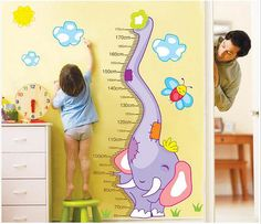 Cartoon elephant growth chart wall decal growth chart wall sticker,height chart decal,elephant decal,kids growth chart decal Product details: size: height ----123cm width ---- 85cm, can measure 1.75 meters children -Non-toxic, environmental protection, waterproof -Condition: 100% Brand New -Color: As picture shown -Three size can be chosen, and 19 colors can be chosen How to use: 1. Choose a smooth, clean and dry surface. Peel the stickers from the sheet one by ...