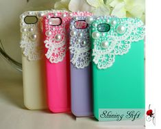 4 Colors For Choice- Lace with Pearl iPhone 4 case, iPhone 4s case, iPhone case, iphone cover ,iphone 4 cover, case for iPhone 4/iphone 4S. $15.99, via Etsy.