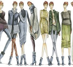 FASHION ILLUSTRATIONS SHOWING RANGE IN STYLE, VARIETY IN SEASONS, AND STYLE.