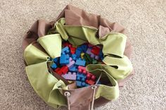 Play Mat becoming a bag- make your own lay n go!!!