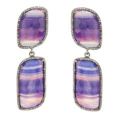 ADORNIA Purple Agate and Champagne Diamond Paloma Earrings ($491) ❤ liked on Polyvore featuring jewelry, earrings, purple, agate earrings, polish jewelry, purple jewellery, diamond earring jewelry and champagne diamond jewelry