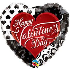 Valentine's black hearts foil balloon http://www.wfdenny.co.uk/p/valentines-black-hearts-foil-balloon/6239/