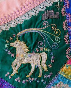 Rainbow magic swirls from the unicorn's horn as butterflies gather round