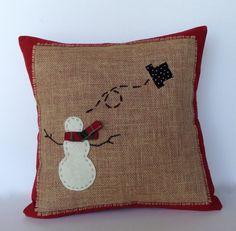 Snowman 2014 Christmas Pillow Cover #Burlap #Snowman #2014  #Christmas  #Throw #Pillows