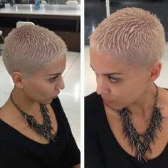 go shorter — Late night creation. Really Short Hair, Super Short Hair, Short Grey Hair, Short Wavy, Short Hair Cuts For Women, Short Pixie, Shaved Hair Cuts, Shaved Head, Corte Y Color