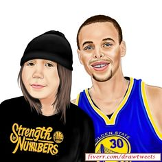 Young Beautiful Lady with Stephen Curry - An art piece inspired by Puzzykath & Stephen Curry of Golden State Warriors of the NBA. #Portrait #Caricature #Art #Drawing #warriors #dubnation #gametime #fullbar #nba #warriorsground #arts #nbafinals #nbafinalsvote #stephencurry #StrenghtInNumbers