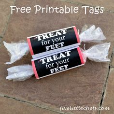 Free Printable Tags - A Treat For Your Feet - to go with a pair of socks as a gift to a friend. Easy to make and cute to give away for holidays, birthdays and other fun events.