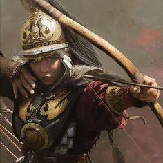 ArtStation - James Lewis-Vines - A Mongolian Archer study painted Fantasy Warrior, Fantasy Art, Fantasy Characters, Female Characters, Character Concept, Character Art, Woman Archer, Woman Warrior, Chinese Armor
