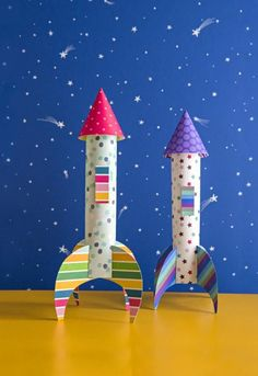 Customize this cool spacecraft with extra hatches, portholes, side fins, and more. (via http://Parents.com) #kids #paper #crafts #rocket #spaceship