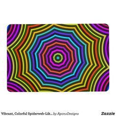 Vibrant, Colorful Spiderweb-Like Pattern Floor Mat Color Crafts, Floor Patterns, Floor Mats, Tissue Paper, Personalized Gifts, Create Your Own, Outdoor Blanket, Vibrant, Colorful