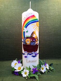"Taufkerze+""Arche+Noah+4""+von+Kerzenstüberl+auf+DaWanda.com Diy Candles, Pillar Candles, Baptism Candle, Baby Boy Baptism, Candels, Arizona Tea, Drinking Tea, Christening, Diy Gifts"