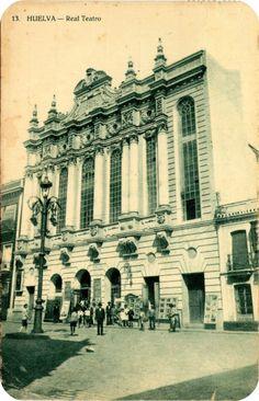 """Postales de Huelva : Real Teatro. Es obra de Pedro Sánchez y Núñez. Situado en la Calle Vázquez López, en la tranquila Plaza Alcalde Coto Mora fue inaugurado el 30 de agosto de 1923 como """"Real Teatro"""" en honor al título concedido por Alfonso XII. Sigue siendo el principal espacio escénico de la ciudad de Huelva (España)."""