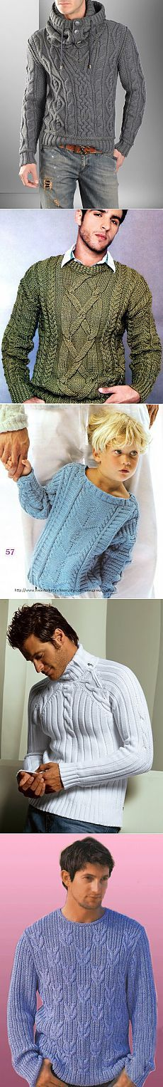 Мужской пуловер. Подборка схем и описаний..
