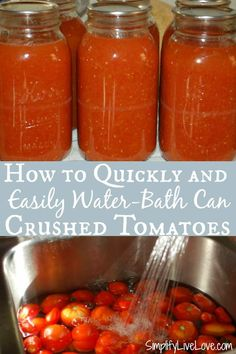 Best Tomato Recipes Canning crushed tomatoes quickly is possible w/ this fast, low-effort guide that still produces the best tasting crushed tomatoes with relatively little effort - the result tastes way better than store-bought! Tomato Sauce Recipe, Tomato Soup Recipes, Easy Canning, Canning Recipes, Clean Eating Recipes, Healthy Recipes, Delicious Recipes, Healthy Food, Water Bath Cooking