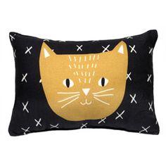 Coussin rectangulaire en coton Charlie le Chat Mimi Lou