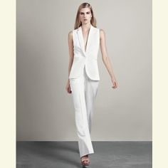 white pant suit for bride wedding women over 40