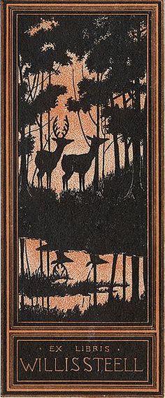 Deer Bookplate for Willis Steell ~ Willis Steell (1866-1941) was an American journalist, poet, dramatist, novelist and translator.