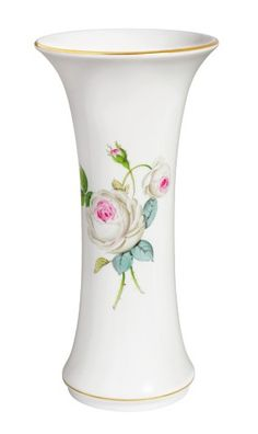 "Vase, Shape ""Neuer Ausschnitt"", White rose with purple centre, gold rim, H 25 cm"