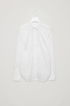 COS image 2 of Slim-fit cotton shirt in White Modern Wardrobe, My Wardrobe, Effortless Chic, Signature Style, Shirt Dress, My Style, Cotton, Mens Tops, How To Wear