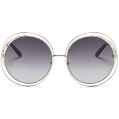 Chloé 'Carlina' oversize wire rim round sunglasses ($380) ❤ liked on Polyvore featuring accessories, eyewear, sunglasses, grey, retro glasses, gray sunglasses, grey sunglasses, wire rim sunglasses and oversized round sunglasses