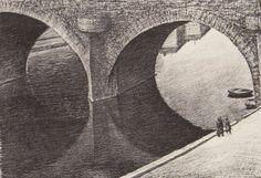 Veikko Vionoja Siltojen kuvajaisia Pariisista  1979 50x70cm  grafiikka Litografia