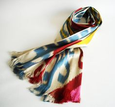 Sukan / Hand Woven ikat Silk Scarf, 14x63 inch, Yellow, Cream, Beige Color, Red, Pink, Yellow, Blue, Brown
