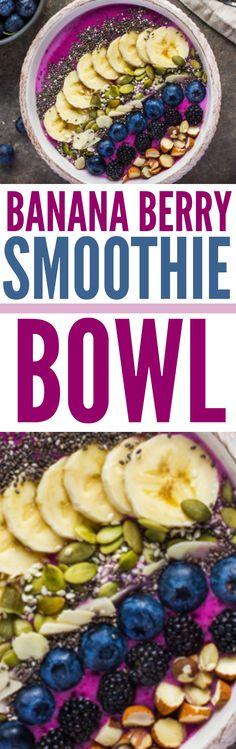 Banana Berry Smoothie Bowl #bananaberry #banana #smoothiebowl #smoothiebowls #healthysmoothiebowl #healthysmoothiebowls #bananaberrysmoothie #bananasmoothie #berrysmoothie #cleaneatingsmoothie #cleaneatingsmoothiebowls