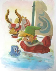 The man in the green hat, red boat, blue fish, red and white dragon