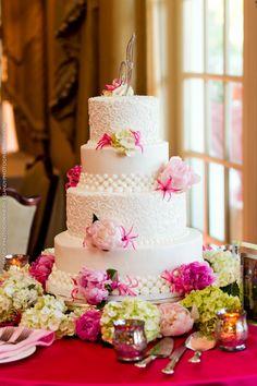 Wedding cake with jeweled initial