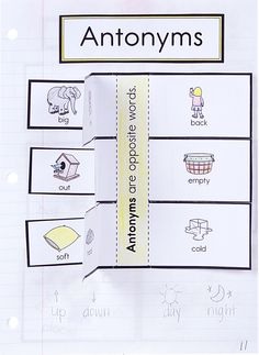 Fun Activity For Students To Learn About Antonyms From Our New Language Arts Interactive Notebook Templates