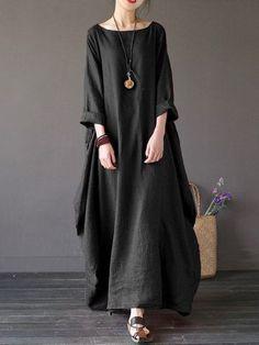 Vintage Women Solid 3/4 Sleeve Loose Robe Dress For Women