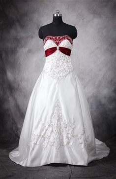 Embroidery Colored Basque Wedding Gown - Wedding Gowns - OuterInner.com