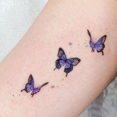 Purple Butterfly Tattoo, Purple Tattoos, Butterfly Tattoos For Women, Butterfly Tattoo Designs, Small Tattoo Designs, Tattoos For Women Small, Small Tattoos, Watercolor Butterfly Tattoo, White Tattoos