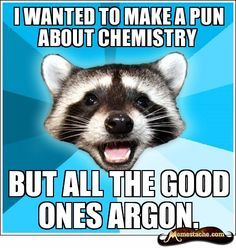 Lame Pun Coon - I wanted to make a pun about chemistry