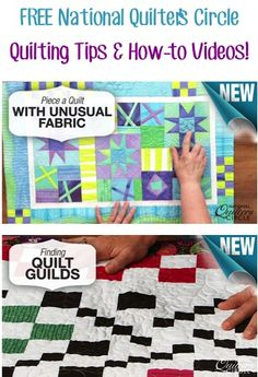 FREE National Quilter's Circle Quilting Tips and How-to Videos!...Do you love to Quilt?  Or would you like to learn more easy Quilting Tips and Tricks?? Start learning with these FREE National Quilter's Circle Quilting Tips and How-to Videos! Have FUN learning!